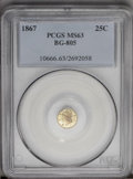 California Fractional Gold: , 1867 25C Liberty Round 25 Cents, BG-805, Low R.5, MS63 PCGS. PCGSPopulation (13/24). (#10666)...
