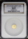 California Fractional Gold: , 1870 25C Liberty Round 25 Cents, BG-835, R.3, MS62 NGC. PCGSPopulation (57/28). (#10696)...