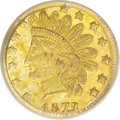 California Fractional Gold: , 1872/1 25C Indian Round 25 Cents, BG-870, R.3, MS63 PCGS. PCGSPopulation (76/81). (#10731)...