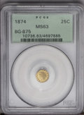 California Fractional Gold: , 1874 25C Indian Round 25 Cents, BG-875, High R.4, MS63 PCGS. PCGSPopulation (16/32). (#10736)...