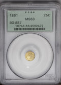 California Fractional Gold: , 1881 25C Indian Round 25 Cents, BG-887, R.3, MS63 PCGS. PCGSPopulation (34/91). (#10748)...