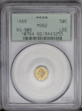 California Fractional Gold: , 1868 50C Liberty Octagonal 50 Cents, BG-906, High R.4, MS62 PCGS.PCGS Population (2/43). (#10764)...
