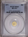 California Fractional Gold: , 1872 50C Liberty Octagonal 50 Cents, BG-913, R.4, MS64 PCGS. PCGSPopulation (20/16). (#10771)...