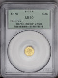 California Fractional Gold: , 1870 50C Liberty Octagonal 50 Cents, BG-922, R.3, MS60 PCGS. PCGSPopulation (4/73). (#10780)...