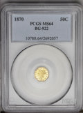 California Fractional Gold: , 1870 50C Liberty Octagonal 50 Cents, BG-922, R.3, MS64 PCGS. PCGSPopulation (11/1). (#10780)...