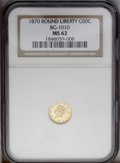 California Fractional Gold: , 1870 50C Liberty Round 50 Cents, BG-1010, R.3, MS62 NGC. PCGSPopulation (29/84). (#10839)...