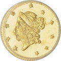 California Fractional Gold: , 1871 50C Liberty Round 50 Cents, BG-1011, R.2, MS62 PCGS. PCGSPopulation (77/163). (#10840)...