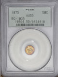 California Fractional Gold: , 1875 50C Liberty Round 50 Cents, BG-1035, High R.5, AU55 PCGS. PCGSPopulation (4/17). (#10864)...