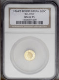 California Fractional Gold: , 1874/3 50C Indian Round 50 Cents, BG-1052, High R.4, MS62 NGC. PCGSPopulation (21/28). (#10881)...