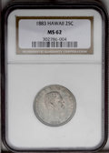 Coins of Hawaii: , 1883 25C Hawaii Quarter MS62 NGC. NGC Census: (67/344). PCGSPopulation (132/635). Mintage: 500,000. (#10987)...