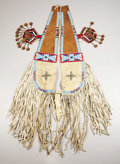 American Indian Art:Beadwork, A CROW BEADED HIDE AND LEATHER CRUPPER. c. 1890. ... (Total: 2Items)