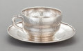 Silver Holloware, American:Cups, A TIFFANY & CO. SILVER CUP AND SAUCER. Tiffany & Co., NewYork, New York, circa 1879-1880. Marks: TIFFANY & CO.STERLING S... (Total: 2 Items)
