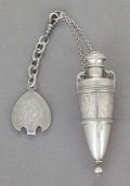 Silver Smalls:Other , AN AMERICAN SILVER BRIGHT-CUT PERFUME BOTTLE WITH CHATELAINE. Makerunknown, mid-19th century. Marks: PAT'D JAN.7.73, 32...