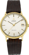 Timepieces:Wristwatch, Omega 18k Gold Automatic With Date, circa 1969. ...