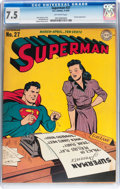 Golden Age (1938-1955):Superhero, Superman #27 (DC, 1944) CGC VF- 7.5 Off-white pages....