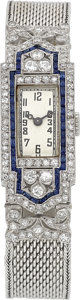 Timepieces:Wristwatch, LeSchot Geneva Very Fine Platinum, Diamond & Sapphire Watch With Gold Band. ...