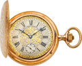 Timepieces:Pocket (post 1900), A. Lange & Söhne Exceptional Ornate Gold Hunters Case, circa 1910. ...