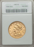 Liberty Eagles: , 1894 $10 MS62 ANACS. NGC Census: (14791/5873). PCGS Population(7302/1809). Mintage: 2,470,778. Numismedia Wsl. Price for p...
