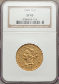 Liberty Eagles: , 1849 $10 XF45 NGC. NGC Census: (182/487). PCGS Population (95/166).Mintage: 653,618. Numismedia Wsl. Price for problem fre...