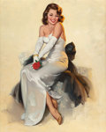 Pin-up and Glamour Art, AL BUELL (American, 1910-1996). Beauty in White Dress with Rose,Brown & Bigelow calendar illustration. Oil on canvas. 3...