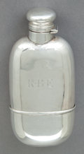 Silver Holloware, American:Flasks, A GORHAM SILVER FLASK. Gorham Manufacturing Co., Providence, RhodeIsland, 1915. Marks: (lion-anchor-G), STERLING, (date...