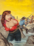 Paintings, WILL HULSEY (American, 20th Century). The Cowpoke and His $50,000 Date, True Men Stories magazine cover, December 1958. ...
