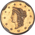 California Fractional Gold, 1870 $1 Goofy Head Round 1 Dollar, BG-1205, High R.4, MS61 NGC....