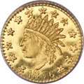 California Fractional Gold, 1876 25C Indian Round 25 Cents, BG-850, Low R.6, MS65 ProoflikeNGC....