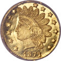 California Fractional Gold, 1872/1 25C Indian Round 25 Cents, BG-868, High R.4, MS66 ProoflikeNGC....