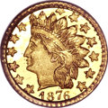 California Fractional Gold, 1876 25C Indian Round 25 Cents, BG-881, R.5, MS66 PCGS....