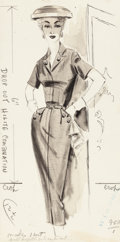 Mainstream Illustration, AMERICAN ARTIST (20th Century). Woman Posing, fashionillustration. Pen and ink wash on board. 11.25 x 5.5 in.. Notsign...