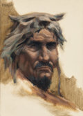 Mainstream Illustration, ROY G. KRENKEL (American, 1918-1983). A Cro-Magnon Hunter.Oil on canvas board. 7 x 5 in.. Initialed upper left. ...