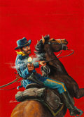 Pulp, Pulp-like, Digests, and Paperback Art, MORT KÜNSTLER (American, b. 1931). Fighting Phil and the RideThat Wrecked the Rebels, Men (True Adventure) magazine cover...(Total: 2 Items)