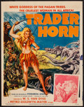 "Movie Posters:Adventure, Trader Horn (MGM, R-1953). Trimmed Window Card (14"" X 18"").Adventure.. ..."