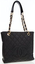 Luxury Accessories:Bags, Chanel Black Quilted Caviar Leather Tote Bag with Gold Hardware....