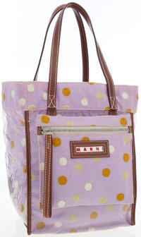 Marni Lilac Canvas Tote Bag with Brown Leather Accents