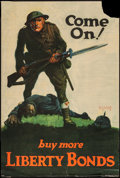 "Movie Posters:War, World War I Propaganda (U.S. Government Printing Office, 1918).Poster (20"" X 30"") ""Come On! Buy More Liberty Bonds."" War.. ..."