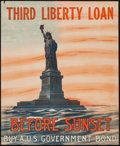 "Movie Posters:War, World War I Propaganda (U.S. Government Printing Office, 1918).Third Liberty Loan Poster (18"" X 22.25"") ""Before Sunset Buy ..."