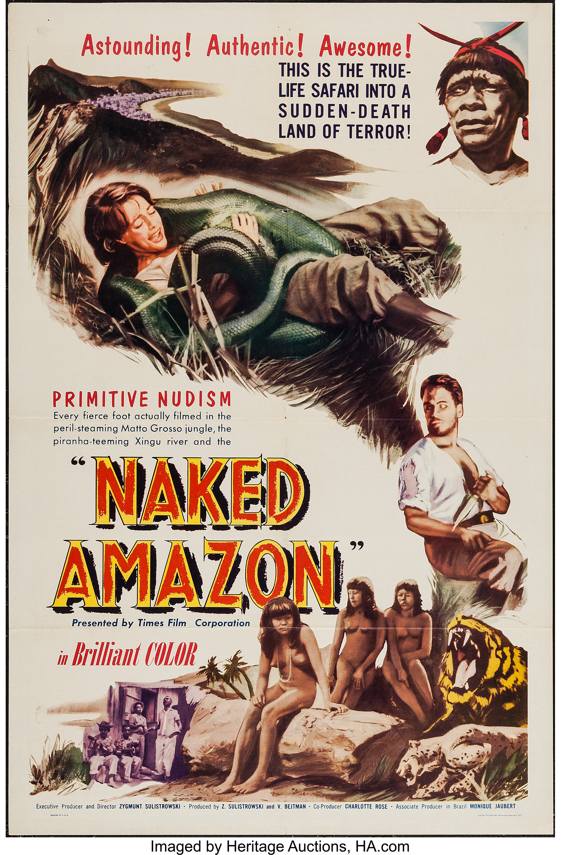 """Andrea True Nude naked amazon (times films corp., 1954). one sheet (27"""" x 41"""