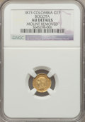 Colombia, Colombia: Republic gold Peso 1873 AU Details (Mount Removed)NGC,...
