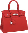 "Luxury Accessories:Bags, Hermes 30cm Rouge Casaque Togo Leather Birkin Bag with PalladiumHardware. Pristine Condition. 12"" Width x 8"" Heightx..."