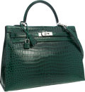 """Luxury Accessories:Bags, Hermes 35cm Shiny Vert Fonce Porosus Crocodile Sellier Kelly Bagwith Palladium Hardware . Pristine Condition. 14""""Wid..."""