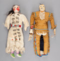 American Indian Art:Beadwork and Quillwork, A PAIR OF SIOUX BEADED HIDE DOLLS. c. 1900... (Total: 2 )
