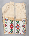 American Indian Art:Beadwork and Quillwork, A PAIR OF SIOUX WOMAN'S BEADED HIDE LEGGINGS. c. 1900... (Total: 2Items)