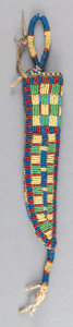 American Indian Art:Beadwork and Quillwork, A PLAINS BEADED HIDE KNIFE SHEATH. c. 1910...