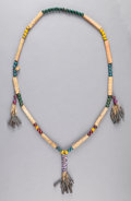 American Indian Art:Beadwork and Quillwork, A PRAIRIE WOOD BEAD AND BONE NECKLACE. c. 1890...