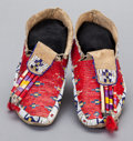 American Indian Art:Beadwork and Quillwork, A PAIR OF SIOUX BEADED AND QUILLED HIDE MOCCASINS. c. 1890...(Total: 2 )