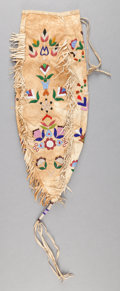 Other, A SANTEE SIOUX BEADED HIDE POUCH. c. 1900...