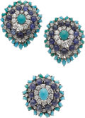Estate Jewelry:Suites, Diamond, Sapphire, Turquoise, Platinum Jewelry Suite. ... (Total: 2Items)