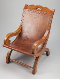 Furniture, A WILLIAM SPRATLING MEXICAN LEATHER AND OAK CHAIR . William Spratling, Taxco, Mexico, circa 1940. Marks to wood: WS, TAXCO...